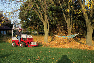 Ventrac 4500Z AWD articulating tractor with Power Blower - Moving leaves with ease the power blower beats a handheld or back mounted leaf blower.