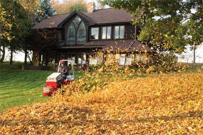 Ventrac 4500Z with Power Blower - Directional forced air of up to 180 MPH the power blower can move mountains of leaves with ease.
