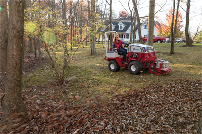 Ventrac 4500P using the Power Blower - Easier than manually raking acres of fall leaves and getting the rake hung up on roots, rocks, stumps, and other obstacles the Ventrac Power Blower helps you look forward to autumn.