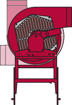 Power Blower Top View Illustration - Demonstrating the range of motion of the Blower