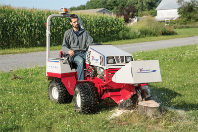 Ventrac 4500K with Stump Grinder - Hydro-static drive and power steering allows greater control for a precise and methodical cut.