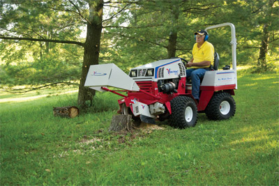 Ventrac 4500Z using Stump Grinder - Easily remove stumps in less time with the Ventrac Stump Grinder. A large mounted mirror helps you see what you are cutting for added ease of use.