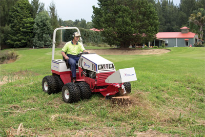 Ventrac 4500P using the KC180 - The AWD 4500 together with the Stump Grinder attachment allows you to remove stumps even around difficult places like hills and uneven terrain.