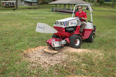 Ventrac 4500Z and KC180 Stump Grinder - The Ventrac 4500 and Stump Grinder easily removes stumps with minimal mess and turf damage.