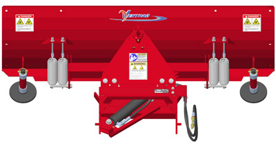 Illustrated Diagram of Ventrac Dozer Blade Rear - Adjustable skid shoes accommodate dozing at selected heights, such as moving snow on gravel driveways.