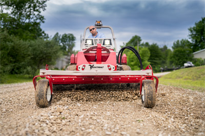 KG540 Power Rake - Driveway repair with Ventrac and the Power Rake - Instead of paying for more gravel every year renew your driveway with the Power Rake for your Ventrac.
