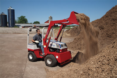 Ventrac 4500Y lifting with Versa-Loader - Increase your capability with a six foot lift capacity.
