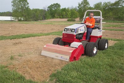 Ventrac 4500Z working with Tiller - Gardens and flower beds can be prepped in no time with the Ventrac Tiller.