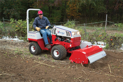 Ventrac 4500Z using Tiller - Front mounted Tiller allows you to see what is being tilled as you gently drive backward.