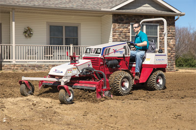 Lawn Preparation with the Ventrac 4500 Power Rake - Prepping new lawns can be done more efficiently with the Power Rake saving time and money.