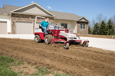 Power Rake on the Ventrac 4500 prepping new lawn - The Power Rake's compact design allows the operator to work in tight quarters including around corners and edges.