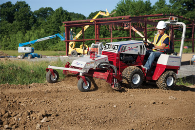 Ventrac 4500Y diesel AWD tractor with Power Rake - No more wasting time and energy manually raking, smoothing, clearing, and prepping ground for seeding. The 4500 with Power Rake does all that in a fraction of the time.