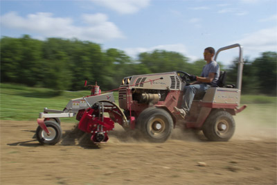 Ventrac 4500 speeds along with Power Rake - The Ventrac Power Rake is powerful enough to get the job done even at faster speeds meeaning it gets done in less time