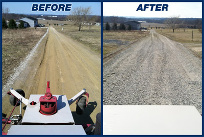 Power Rake on Gravel Driveways - Before and after