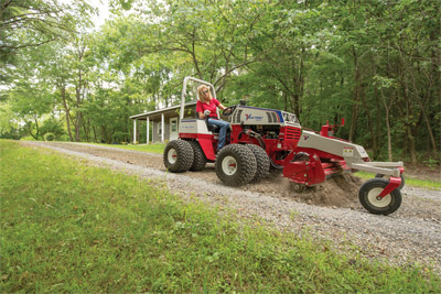 Ventrac 4500Z working with the Power Rake - Up to 63 inches of raking power to mix and level many kinds of material.