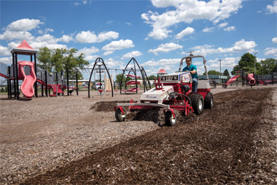 Ventrac 4500 Repairs Playground - No need to replace expensive mulch every year with the Ventrac Power Rake that stirs up compacted materials and refreshes the playground in no time.