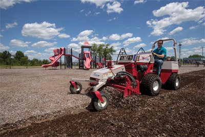 Ventrac 4500P Repairing Playground - In less time than dumping and spreading new mulch the Ventrac Power Broom can restore well-trodden play areas to be as good as new.