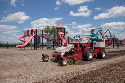 Playground Repair with the Ventrac 4500 and Power Rake - No need to replace expensive mulch every year with the Ventrac Power Rake that stirs up compacted materials and refreshes the playground in no time.