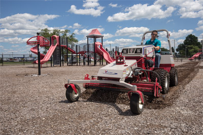 Playground Repair with Ventrac and the Power Rake - In less time than dumping and spreading new mulch the Ventrac Power Broom can restore well-trodden play areas to be as good as new.