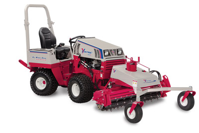 Ventrac 4500P with Power Rake right side view - Shown with optional 3 point hitch kit and optional suspension seat.