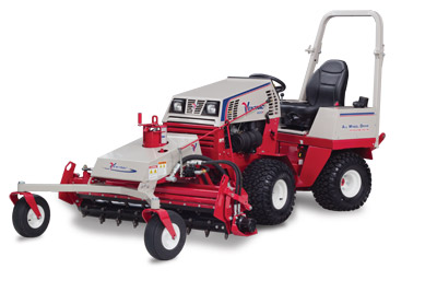 Ventrac 4500P with Power Rake left side view - Shown with optional 3 point hitch kit and optional suspension seat.