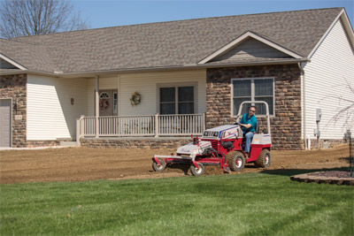 Ventrac 4500 using Power Rake to finish lawn preparation - Seamlessly merge existing lawn with new lawn prep using the precision of the Power Rake