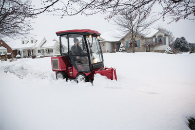 Ventrac 3400 Snow Removal Setup Cab - Deep heavy snow is no match for an all-wheel drive 3400 with V-blade