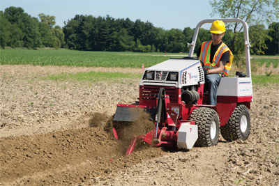 Ventrac 4500P with Trencher - The terminator/cup combo chain offers carbide cutting tips for excellent cutting performance in a variety soil conditions.