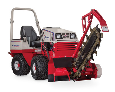 Ventrac 4500Y with the KY400 Trencher - The KY400 Trencher is capable of trenching up to 40 inches (102 cm) in depth with a 5½ inch (14 cm) wide cut. It is designed with dual Push-N-Pull cylinders to assure positive boom control for digging, boom lift, and transport.