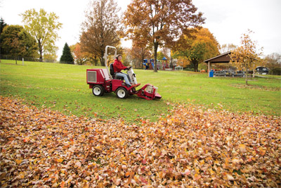Ventrac 3400 power blower - Rounding up fallen leaves is much easier with the Ventrac power blower