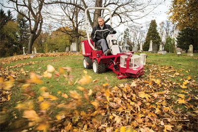 Ventrac 3400 with power blower - Less work and back strain than a handheld or backpack blower and faster too