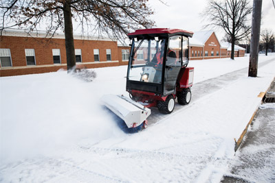 Ventrac 3400Y with Power Broom and Cab - Fully enclosed heated cab and the Ventrac power broom makes snow removal much more tolerable or even enjoyable