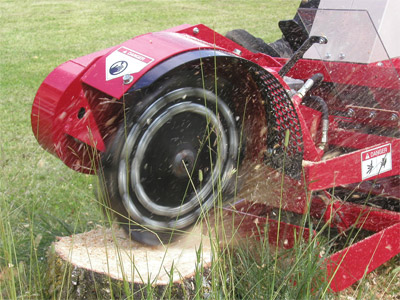 Ventrac LC150 Stump Grinder starting on stump - The stump at the beginning of grinding.