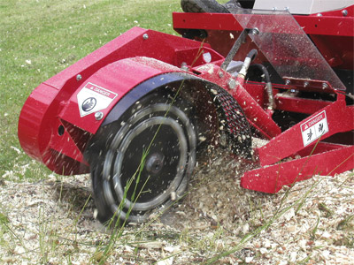 Ventrac LC150 Stump Grinder finishing stump - At the end of the project, there's nothing left of the stump.