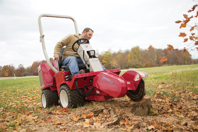 Ventrac 3400 stump grinder - Easy to use stump grinder controlled from the tractor with no special setup required
