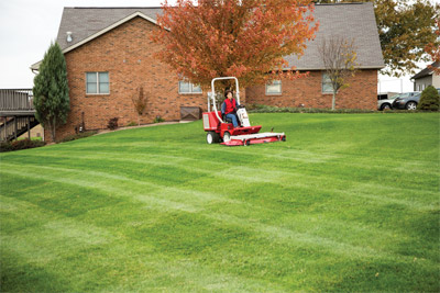 Ventrac 3400 with 60 inch cut mower deck - Mowing your lawn takes less time with five feet of cutting width per pass