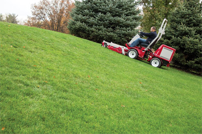 Ventrac 3400 with LM600 mower - Mowing on a hill is safer with the Ventrac 3400 capable of navigating 20 degree slopes maintaining an even cut