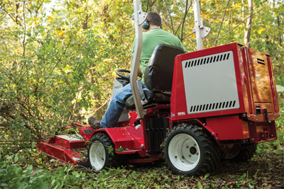 Ventrac 3400 Articulating Tractor mowing with Field Mower - Center-point articulation helps make the 3400 more maneuverable and in turn makes using the Field Mower simpler and safer.