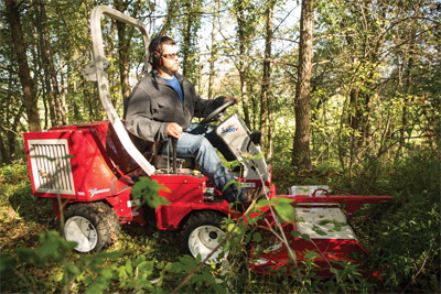 Ventrac 3400Y and the Field Mower - Three pins provide three cutting height options: 2 1/4, 3 1/2, and 4 3/4 inches (5.7, 8.9, and 12.1 cm).