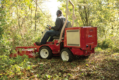 Ventrac 3400Y Articulating Tractor with Field Mower - Tight turning radius makes it easier to maneuver around full-grown trees thus allowing you to get more places than with conventional tractors.