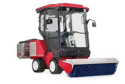 Ventrac 3400Y with Complete Winter Setup - The Ventrac 3400Y shown here with Power Broom, enclosed heated cab, and Drop Spreader.