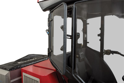 Closeup of LW450 Cab Window - Window props open to allow airflow in.
