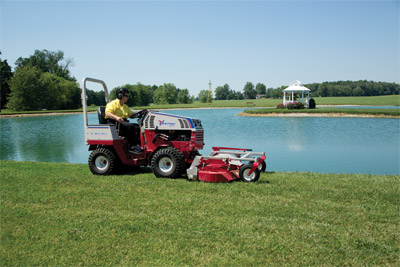 Ventrac 4500 and MC600 Rear Discharge Mower - Mow around ponds, lakes, and other water areas with the confidence of all-wheel drive.