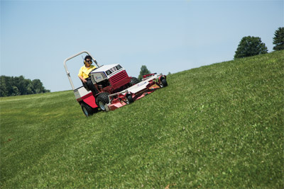 Ventrac 4500 Slope Mowing with MC600 Deck - The AWD Ventrac 4500 is a safer option for slopes and hills while the mower deck gives you and even cut even on those slopes.