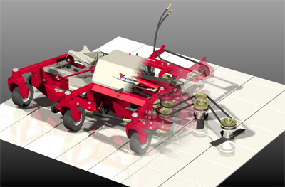 Ventrac Contour Mower Cutaway - Diagram of belt configuration of the MJ840 Contour Mower