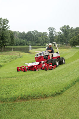 Ventrac 4500 and Contour Mower - The Ventrac 4500 using the MJ840 Contour Mower can add those professional precision touches to a variety of turf types.
