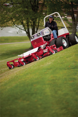 Ventrac 4500P on Golf Course with Contour Mower - Optional dual turf tires adds maximum traction with minimum turf damage.