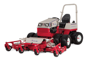 Ventrac 4500P with MJ840 Contour Deck - The contour deck has three independent mowing decks that float and pivot to ensure a wide and even cut