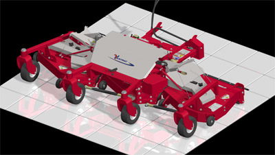 MJ840 Contour Mower Deck Diagram overhead view - Diagram highlighting all the contact points of the contour deck including stabilizing wheels, rear rollers, and individual deck rollers.