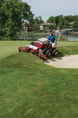 Ventrac 4500 with Dual Wheels using MJ840 Contour Mower - The Contour Mower is perfect for applications that require precision mowing on multiple turf variations and conditions.